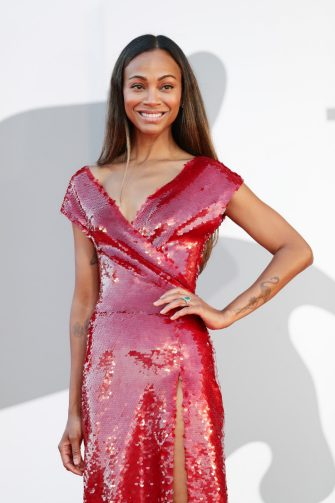 """VENICE, ITALY - SEPTEMBER 02: Zoe Saldana attends the red carpet of the movie """"The Hand Of God"""" during the 78th Venice International Film Festival on September 02, 2021 in Venice, Italy. (Photo by Vittorio Zunino Celotto/Getty Images)"""