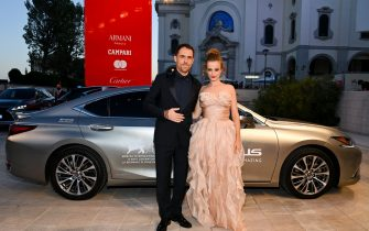 """VENICE, ITALY - SEPTEMBER 09: Elio Germano and Astrid Casali arrive on the red carpet ahead of the """"America Latina"""" screening during the 78th Venice Film Festival on September 09, 2021 in Venice, Italy. (Photo by Pascal Le Segretain/Getty Images for Lexus)"""