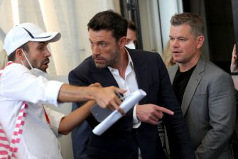 """VENICE, ITALY - SEPTEMBER 10: Ben Affleck and Matt Damon attend the photocall of """"The Last Duel"""" during the 78th Venice International Film Festival on September 10, 2021 in Venice, Italy. (Photo by Vittorio Zunino Celotto/Getty Images)"""