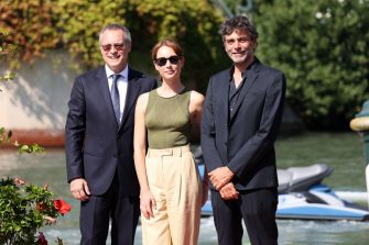 VENICE, ITALY - SEPTEMBER 10: Carlo Bonomi, Cristiana Capotondi and Luca Lucini arrive at the 78th Venice International Film Festival on September 10, 2021 in Venice, Italy. (Photo by Getty Images/Getty Images)