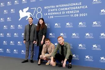"VENICE, ITALY - SEPTEMBER 10:  (L-R) Yevhen Chernykov, Alina Zevakova, Yevhen Grygoriev and Oleksandr Rudynskyi attend the photocall of ""Nosorih"" during the 78th Venice International Film Festival on September 10, 2021 in Venice, Italy. (Photo by John Phillips/Getty Images)"