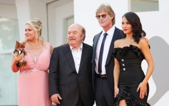 """VENICE, ITALY - SEPTEMBER 10: (L-R) Devin DeVasquez , Lino Banfi, Ronn Moss and Mayra Pietrocola attend the red carpet of the movie """"Un Autre Monde"""" during the 78th Venice International Film Festival on September 10, 2021 in Venice, Italy. (Photo by Vittorio Zunino Celotto/Getty Images)"""