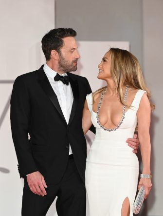 """VENICE, ITALY - SEPTEMBER 10: Ben Affleck and Jennifer Lopez attend the red carpet of the movie """"The Last Duel"""" during the 78th Venice International Film Festival on September 10, 2021 in Venice, Italy. (Photo by Daniele Venturelli/WireImage)"""