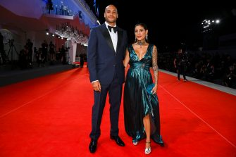 """VENICE, ITALY - SEPTEMBER 10: Marcell Jacobs and Nicole Daza attend the red carpet of the movie """"The Last Duel"""" during the 78th Venice International Film Festival on September 10, 2021 in Venice, Italy. (Photo by Pascal Le Segretain/Getty Images)"""
