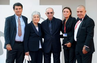 (L-R) Marco Morricone, Maria Travia Morricone, Italian filmmaker Giuseppe Tornatore, a guest and Giovanni Morricone arrive for the premiere of  'Ennio (Ennio The Maestro)' during the 78th annual Venice International Film Festival, Venice, Italy, 10 September 2021. The movie is presented out of competition at the festival running from 01 to 11 September.  ANSA/ETTORE FERRARI