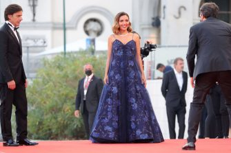 VENICE, ITALY - SEPTEMBER 11: Davide Devenuto and Patroness of the festival Serena Rossi attend the closing ceremony red carpet during the 78th Venice International Film Festival on September 11, 2021 in Venice, Italy. (Photo by Vittorio Zunino Celotto/Getty Images)