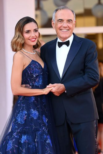 VENICE, ITALY - SEPTEMBER 11: Patroness of the festival Serena Rossi and Director of the festival Alberto Barbera attend the closing ceremony red carpet during the 78th Venice International Film Festival on September 11, 2021 in Venice, Italy. (Photo by Daniele Venturelli/WireImage)