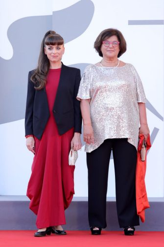 VENICE, ITALY - SEPTEMBER 11: Michelle Kranot and Maria Grazia Mattei attend the closing ceremony red carpet during the 78th Venice International Film Festival on September 11, 2021 in Venice, Italy. (Photo by Vittorio Zunino Celotto/Getty Images)