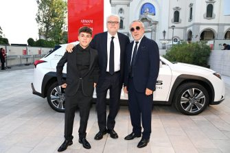 VENICE, ITALY - SEPTEMBER 11: Giuseppe Pirozzi, Director Roberto Andò and Silvio Orlando arrive on the red carpet for the closing ceremony during the 78th Venice Film Festival on September 11, 2021 in Venice, Italy. (Photo by Pascal Le Segretain/Getty Images for Lexus)