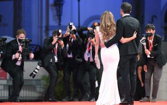 US actor Ben Affleck (R) and US actress and singer Jennifer Lopez (L) arrive for the premiere of  'The Last Duel' during the 78th annual Venice International Film Festival, Venice, Italy, 10 September 2021. The movie is presented out of competition at the festival running from 01 to 11 September.  ANSA/ETTORE FERRARI