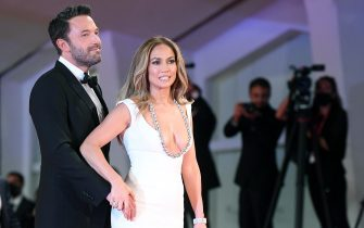 US actor Ben Affleck (L) and US actress and singer Jennifer Lopez (R) arrive for the premiere of  'The Last Duel' during the 78th annual Venice International Film Festival, Venice, Italy, 10 September 2021. The movie is presented out of competition at the festival running from 01 to 11 September.  ANSA/ETTORE FERRARI