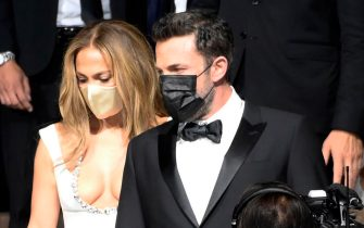 US actor Ben Affleck and US actress and singer Jennifer Lopez wearing a protective face mask arrive for the screening of movie 'The Last Duel' during the 78th annual Venice International Film Festival, in Venice, Italy, 10 September 2021. The movie is presented out competition at the festival running from 01 to 11 September. ANSA/CLAUDIO ONORATI