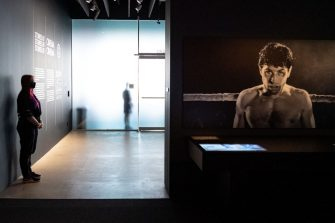 Los Angeles, CA - September 21:Scenes from Raging Bull await visitors in the Stories of Cinema gallery at the Academy Museum in Los Angeles, CA Tuesday, September 21, 2021. The Academy Museum of Motion Pictures will open its doors to the public on Thursday, September 30, 2021. The Museums 50,000 square feet of gallery space opens with a series of exhibitions that honor the museums mission to share the diverse and dynamic history of cinema with the world. This includes the three-floor core exhibition Stories of Cinema and the first-ever Hayao Miyazaki retrospective in North America.   (Photo by David Crane/MediaNews Group/Los Angeles Daily News via Getty Images)