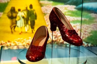 Los Angeles, CA - September 21:Judy Garlands ruby slippers, inscription inside says, #7 Judy Garland, are on display at the new Academy Museum in Los Angeles, CA Tuesday, September 21, 2021.  The Academy Museum of Motion Pictures will open its doors to the public on Thursday, September 30, 2021. The Museums 50,000 square feet of gallery space opens with a series of exhibitions that honor the museums mission to share the diverse and dynamic history of cinema with the world. This includes the three-floor core exhibition Stories of Cinema and the first-ever Hayao Miyazaki retrospective in North America.   (Photo by David Crane/MediaNews Group/Los Angeles Daily News via Getty Images)