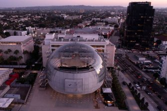 An aerial view shows the new Academy Museum of Motion Pictures designed by Italian architect Renzo Piano, on September 21, 2021 in Los Angeles, California. - The museum, which is dedicated to the art and science of cinema, opens to the public on September 30, 2021. (Photo by Robyn Beck / AFP) (Photo by ROBYN BECK/AFP via Getty Images)