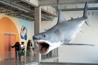 Los Angeles, CA - September 21:Bruce the life-size shark from Jaws greets visitors at the Academy Museum in Los Angeles, CA Tuesday, September 21, 2021. The Academy Museum of Motion Pictures will open its doors to the public on Thursday, September 30, 2021. The Museums 50,000 square feet of gallery space opens with a series of exhibitions that honor the museums mission to share the diverse and dynamic history of cinema with the world. This includes the three-floor core exhibition Stories of Cinema and the first-ever Hayao Miyazaki retrospective in North America.   (Photo by David Crane/MediaNews Group/Los Angeles Daily News via Getty Images)
