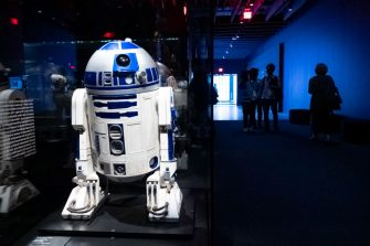 Los Angeles, CA - September 21:The real R2D2 awaits visitors at the Academy Museum in Los Angeles, CA Tuesday, September 21, 2021. The Academy Museum of Motion Pictures will open its doors to the public on Thursday, September 30, 2021. The Museums 50,000 square feet of gallery space opens with a series of exhibitions that honor the museums mission to share the diverse and dynamic history of cinema with the world. This includes the three-floor core exhibition Stories of Cinema and the first-ever Hayao Miyazaki retrospective in North America.   (Photo by David Crane/MediaNews Group/Los Angeles Daily News via Getty Images)