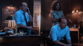B25_17163_RC2Rory Kinnear stars as Tanner, Naomie Harris as Moneypenny and Ralph Fiennes as M in NO TIME TO DIE, an EON Productions and Metro-Goldwyn-Mayer Studios filmCredit: Nicola Dove© 2021 DANJAQ, LLC AND MGM.  ALL RIGHTS RESERVED.