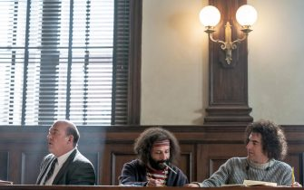 USA.  Sacha Baron  and Jeremy Strong  in the (C)Netflix  film : The Trial of the Chicago 7 (2020).  Plot: The story of 7 people on trial stemming from various charges surrounding the uprising at the 1968 Democratic National Convention in Chicago, Illinois.  Ref: LMK106-J6897-020221 Supplied by LMKMEDIA. Editorial Only. Landmark Media is not the copyright owner of these Film or TV stills but provides a service only for recognised Media outlets. pictures@lmkmedia.com