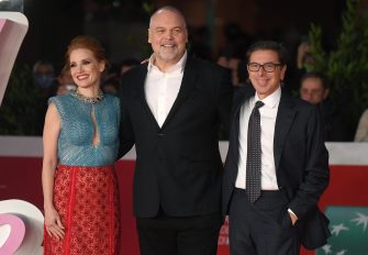 US actors Jessica Chastain (L), Vincent D'Onofrio (C) and Rome Film Festival Artistic Director Antonio Monda (R) arrive for the screening of 'The Eyes of Tammy Faye' at the 16th annual Rome International Film Festival, in Rome, Italy, 14 October 2021. The film festival runs from 14 to 24 October. ANSA/ETTORE FERRARI