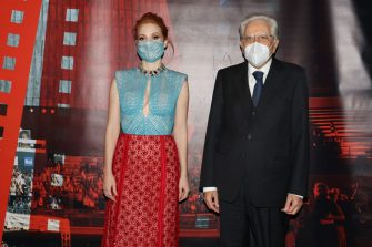ROME, ITALY - OCTOBER 14: Jessica Chastain and President of the Italian Republic, Sergio Mattarella attend the inauguration of the 16th Rome Film Fest 2021 on October 14, 2021 in Rome, Italy. (Photo by Vittorio Zunino Celotto/Getty Images for RFF)