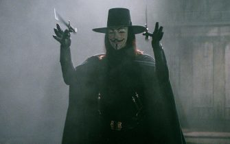 "HUGO WEAVING as V in Warner Bros. Pictures' and Virtual Studios' action thriller ""V for Vendetta,"" distributed by Warner Bros. Pictures. The film stars Natalie Portman.