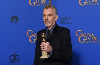 """Actor Billy Bob Thornton poses with the award for Best Actor - Mini-Series Or TV Movie for his role in """"Fargo,"""" in the press room at the 72nd annual Golden Globe Awards, January 11, 2015 at the Beverly Hilton Hotel in Beverly Hills, California. AFP PHOTO / FREDERIC J BROWN        (Photo credit should read FREDERIC J. BROWN/AFP via Getty Images)"""