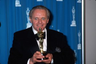 Actor Anthony Hopkins holding his Oscar and making a Hannibal Lecter face in Press Room at Academy Awards.  (Photo by Time Life Pictures/DMI/The LIFE Picture Collection via Getty Images)