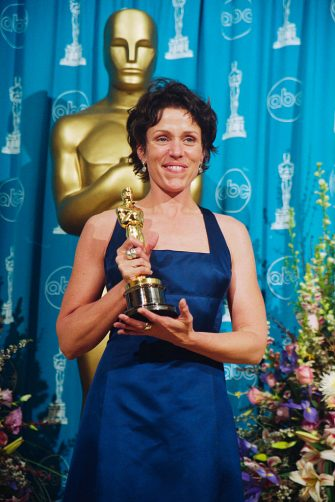 (Original Caption) Frances McDormand won the Best Actress Oscar at 69th annual Academy Awards for her role in Fargo. (Photo by �� Steve Starr/CORBIS/Corbis via Getty Images)