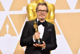 """HOLLYWOOD, CA - MARCH 04:  Actor Gary Oldman winner of  Best Actor for """"Darkest Hour"""" poses in the press room during the 90th Annual Academy Awards at Hollywood & Highland Center on March 4, 2018 in Hollywood, California.  (Photo by Jeff Kravitz/FilmMagic)"""