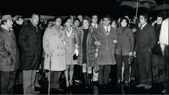 Feb. 02, 1968 - Italian actors are stiking against the Television State Company and against foreign actors who work in Italy. They assembled this morning in the little theater of Servi, to discute their problems. After the assembly they went before the House of Parliament. Photo shows a group of actors, from left: Ivo Garrani, Massimo Girotti, Enrico M. Salerno, Sandra Milo, Carla Gravina, Luigi Vannucchi, Arnoldo FOA', Lisa Gastoni and Brett Halsey who has solidarity with the Italian actors.