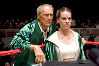 """CLINT EASTWOOD as Frankie and HILARY SWANK as Maggie in Warner Bros. Pictures' drama """"Million Dollar Baby.""""  The Malpaso production also stars Morgan Freeman.   PHOTOGRAPHS TO BE USED SOLELY FOR ADVERTISING, PROMOTION, PUBLICITY OR REVIEWS OF THIS SPECIFIC MOTION PICTURE AND TO REMAIN THE PROPERTY OF THE STUDIO. NOT FOR SALE OR REDISTRIBUTION."""