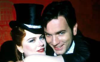 "389386 01:  Actors Nicole Kidman stars as Satine ""The Sparkling Diamond"" and Ewan McGregor stars as Christian a young poet in Twentieth Century Fox's new film ""Moulin Rouge.""  (Photo by Ellen Von Unwerth/Twentieth Century Fox)"