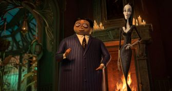 Oscar Isaac as the voice of Gomez Addams (left) and Charlize Theron as the voice of Morticia Addams (right) in THE ADDAMS FAMILY, directed by Conrad Vernon and Greg Tiernan, a Metro Goldwyn Mayer Pictures film.  Credit: Metro Goldwyn Mayer Pictures  © 2019 Metro-Goldwyn-Mayer Pictures Inc.  All Rights Reserved.