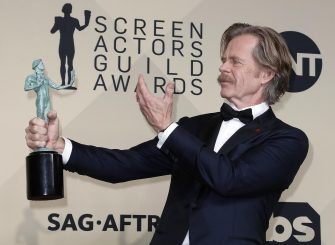 epa07078128 William H. Macy poses with the SAG Award for Best Male Actor in a Comedy Series for 'Shameless' during the 24th annual Screen Actors Guild Awards ceremony at the Shrine Exposition Center in Los Angeles, California, USA, 21 January 2018. The SAG Awards honors the best achievements in film and television performances.  EPA/MIKE NELSON