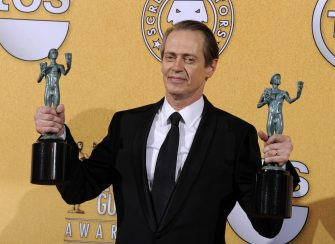 epa03986830 (FILE) A file picture dated shows US actor Steve Buscemi holding up his awards for Outstanding Performance by a male Actor in a Drama Series and Outstanding Performance by an Ensemble in a Drama Series for his performance in 'Boardwalk Empire' at the 18th Annual Screen Actors Guild Awards held at the Shrine Auditorium in Los Angeles, California, USA, 29 January 2012. Steve Buscemi has been nominated for a SAG award in the category Outstanding Performance by a Male Actor in a Drama Series for his role in 'Boardwalk Empire' at the 20th Screen Actors Guild Awards that will take place on 18 January 2014 in Los Angeles.  EPA/PAUL BUCK
