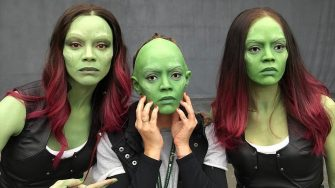 James Gunn has posted a photo on Instagram with the following remarks: #GotGPicoftheDay  We tested out @zoesaldana/Gamora masks for our stunt people to use. But, in addition to being horrifyingly scary, they seemed unwieldy. So we ditched them and went with straight up Green face paint on our stunties - or face replacement when necessary. Check out my FB page for the Mantis mask. #gotgvol2 #marvel #mask  Instagram, 2017-05-04 10:40:08.  Photo supplied by insight media. Service fee applies.  This is a private photo posted on social networks and supplied by this Agency. This Agency does not claim any ownership including but not limited to copyright or license in the attached material. Fees charged by this Agency are for Agency's services only, and do not, nor are they intended to, convey to the user any ownership of copyright or license in the material. By publishing this material you expressly agree to indemnify and to hold this Agency and its directors, shareholders and employees harmless from any loss, claims, damages, demands, expenses (including legal fees), or any causes of action or allegation arising out of or connected in any way with publication of the material.