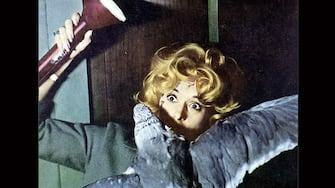 Die Voegel  Birds,  Tippi Hedren Fast wird Melanie (Tippi Hedren) ein Opfer der Moeven, als sie im Haus von ihnen attackiert