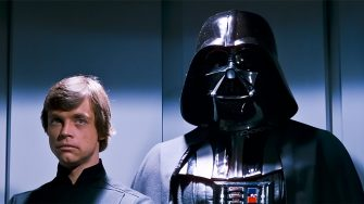 USA. David Prowse and Mark Hamill  in a scene from the (C)Twentieth Century Fox film: Star Wars: Return of the Jedi (1983). Plot: After a daring mission to rescue Han Solo from Jabba the Hutt, the Rebels dispatch to Endor to destroy the second Death Star. Meanwhile, Luke struggles to help Darth Vader back from the dark side without falling into the Emperor's trap. Ref: LMK110-J7166-080621 Supplied by LMKMEDIA. Editorial Only.Landmark Media is not the copyright owner of these Film or TV stills but provides a service only for recognised Media outlets. pictures@lmkmedia.com