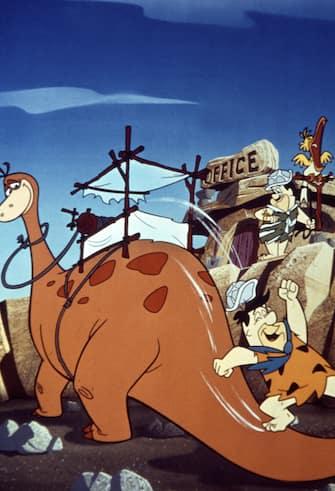 Kino. Familie Feuerstein, USA, 1960, aka: The Flintstones, TV-Serie, Fernsehserie, Zeichentrick, Zeichentrickfilm, Zeichentrickserie, Regie: Joseph Barbera, Ralph Goodman, Darsteller: Fred Feuerstein, Chef. (Photo by FilmPublicityArchive/United Archives via Getty Images)