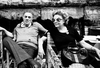 ROME - JULY 7:  Movie Director Federico Fellini with wife Giulietta Masina on July 7, 1975 in Rome, Italy. (Photo by Santi Visalli/Getty Images)