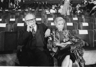 Italian director's Federico Fellini and actress wife Giulietta Masina sitting in the stalls waiting for the screening of the film The Voice of the Moon, the last one directed by Federico Fellini, Rome, Italy 1990. (Photo by Stefano Montesi/Corbis via Getty Images)