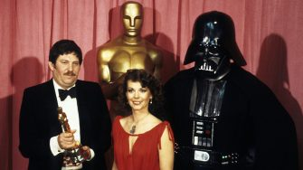 THE 50TH ANNUAL ACADEMY AWARDS - Show Coverage - Shoot Date: April 3, 1978. (Photo by Walt Disney Television via Getty Images Photo Archives/Walt Disney Television via Getty Images)JOHN MOLLO;NATALIE WOOD;DARTH VADER