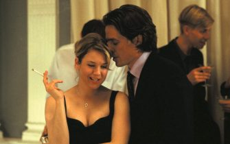 Title: Bridget Jones's Diary. Copyright: Universal Pictures 2001. Quality: Original scanned image. Photo credit: Alex Bailey. Actors: Starring Renee Zelwegger, Hugh Grant, Colin Firth.