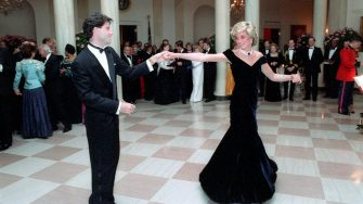 In this photo provided by the Ronald Reagan Presidential Library, Princess Diana dances with John Travolta in the Cross Hall of the White House in Washington, DC at a Dinner for Prince Charles and Princess Diana of the United Kingdom on November 9, 1985. Mandatory Credit: Pete Souza - Courtesy Ronald Reagan Library via CNP - NO WIRE SERVICE- Photo: Pete Souza/Consolidated News Photos/Pete Souza - Courtesy Ronald Reagan Library via CNP