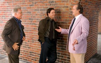 """From left to right: stars MARTIN SHEEN, MARK WAHLBERG and JACK NICHOLSON enjoy a laugh during a break on the set of Warner Bros. Pictures' crime drama """"The Departed.""""PHOTOGRAPHS TO BE USED SOLELY FOR ADVERTISING, PROMOTION, PUBLICITY OR REVIEWS OF THIS SPECIFIC MOTION PICTURE AND TO REMAIN THE PROPERTY OF THE STUDIO. NOT FOR SALE OR REDISTRIBUTION."""