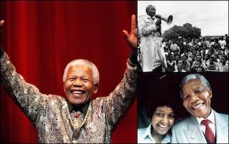 Nelson Mandela durante un comizio e con la moglie Winnie