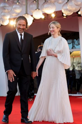 """VENICE, ITALY - SEPTEMBER 01: Venezia78 Jury member Saverio Costanzo and Alba Rohrwacher attend  the red carpet of the movie """"Madres Paralelas"""" during the 78th Venice International Film Festival on September 01, 2021 in Venice, Italy. (Photo by Franco Origlia/Getty Images)"""