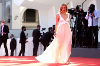 """VENICE, ITALY - SEPTEMBER 02: Venezia78 Jury member Sarah Gadon  attends the red carpet of the movie """"The Card Counter"""" during the 78th Venice International Film Festival on September 02, 2021 in Venice, Italy. (Photo by Franco Origlia/Getty Images)"""