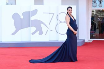 """VENICE, ITALY - SEPTEMBER 01: Paola Turani attends the red carpet of the movie """"Madres Paralelas"""" during the 78th Venice International Film Festival on September 01, 2021 in Venice, Italy. (Photo by Daniele Venturelli/WireImage)"""
